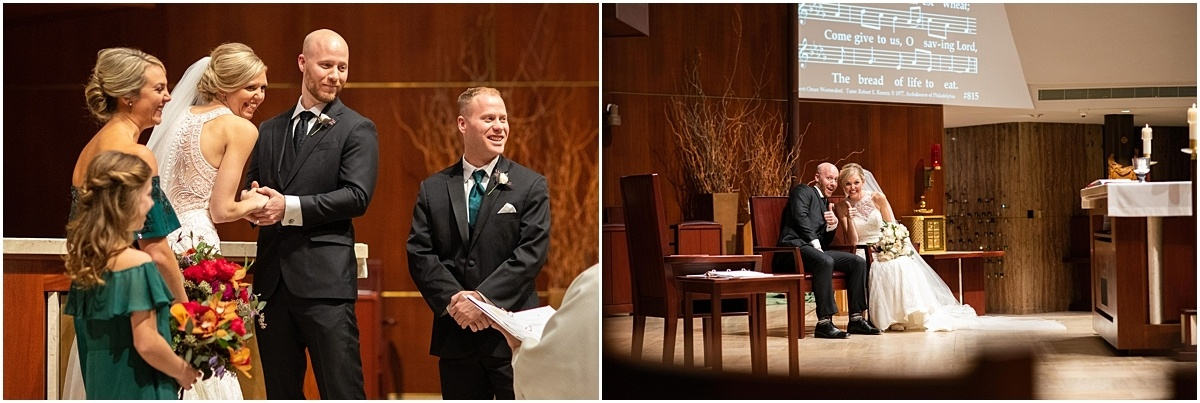 Woman's Club Minneapolis Wedding exchanging vows
