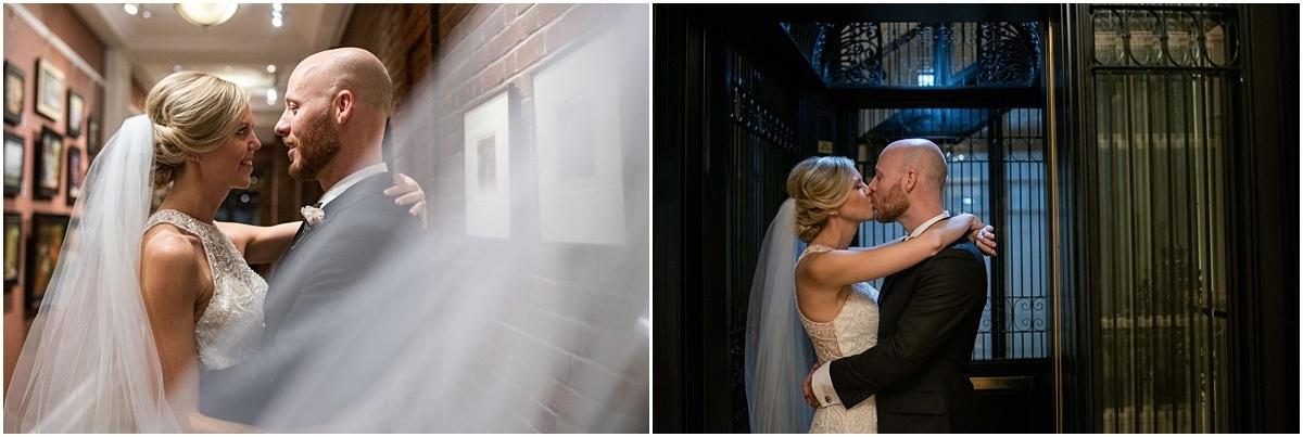Woman's Club Minneapolis Wedding bride and groom kiss