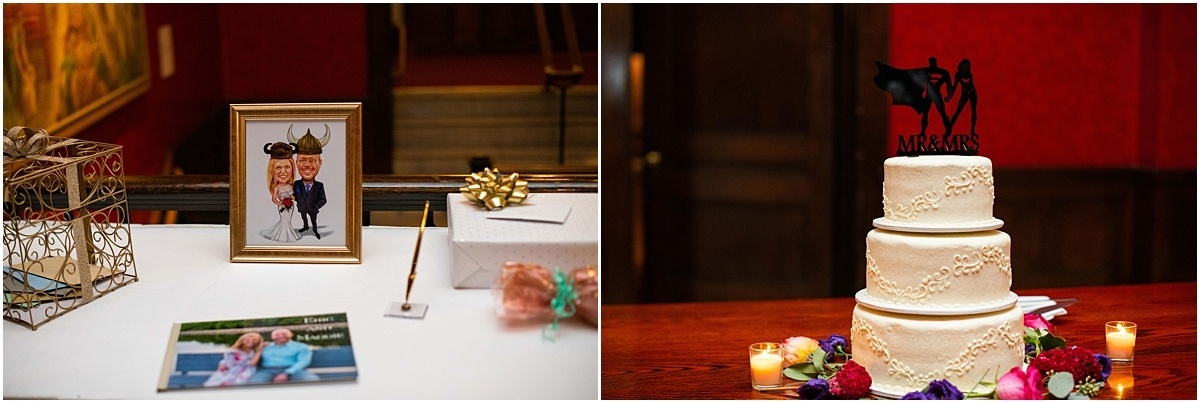 Woman's Club Minneapolis Wedding cake and guestbook table