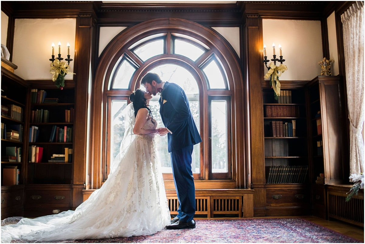 Gale Mansion Christmas Wedding library