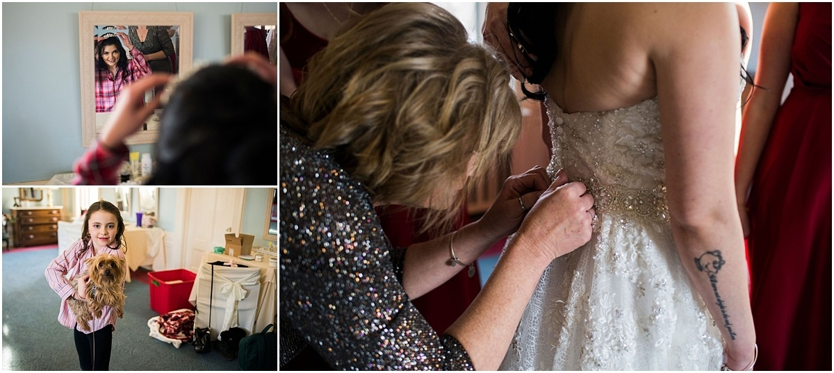 Gale Mansion Christmas Wedding / Beauty and the Beast Themed bride getting ready
