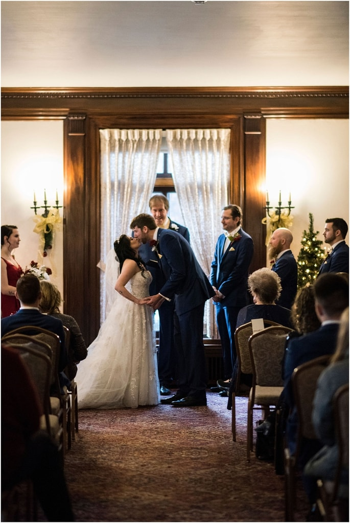 Gale Mansion Christmas Wedding / Beauty and the Beast Themed kiss