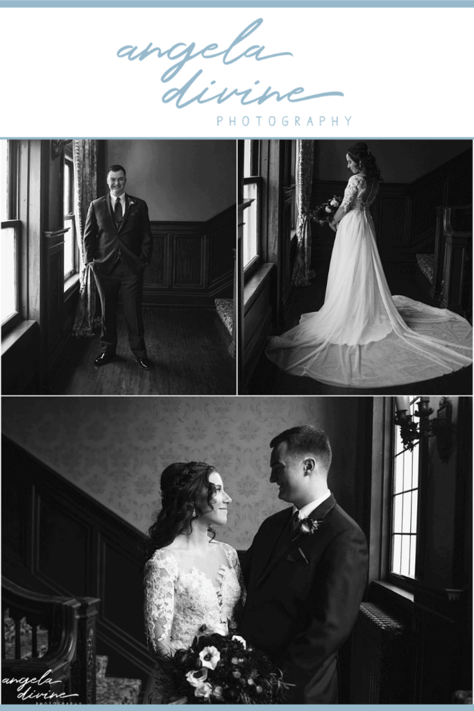 These high school sweethearts gathered their friends and family for a wedding at the Semple Mansion this past winter. Check out my favorite photos and stories from their wedding on my blog. | Angela Divine Photography | Minneapolis wedding + brand photographer | #wedding #winterwedding #weddingphotographer | https://angeladivinephotography.com/semple-mansion-wedding-marissa-kyle