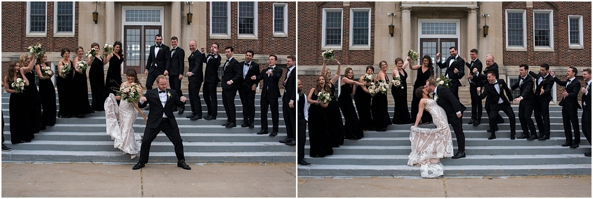 bride and groom pose outside with bridal party