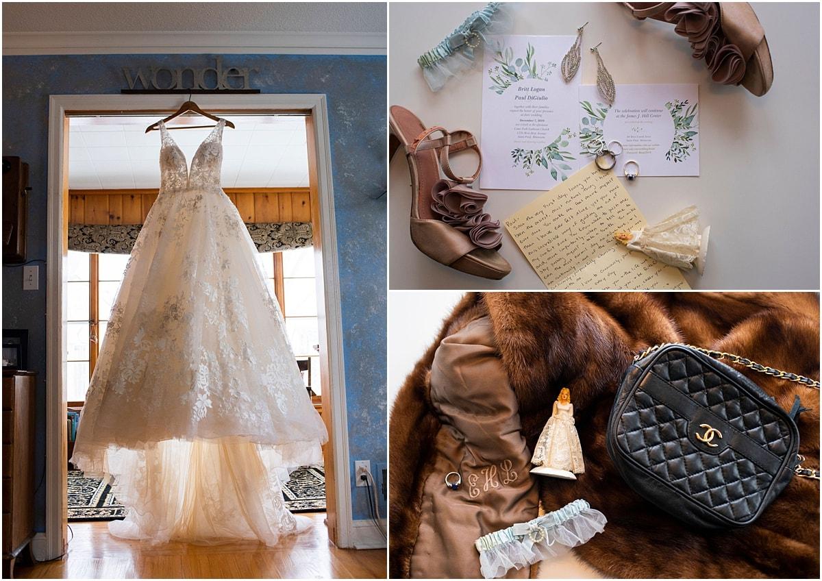 wedding dress, shoes, invitation