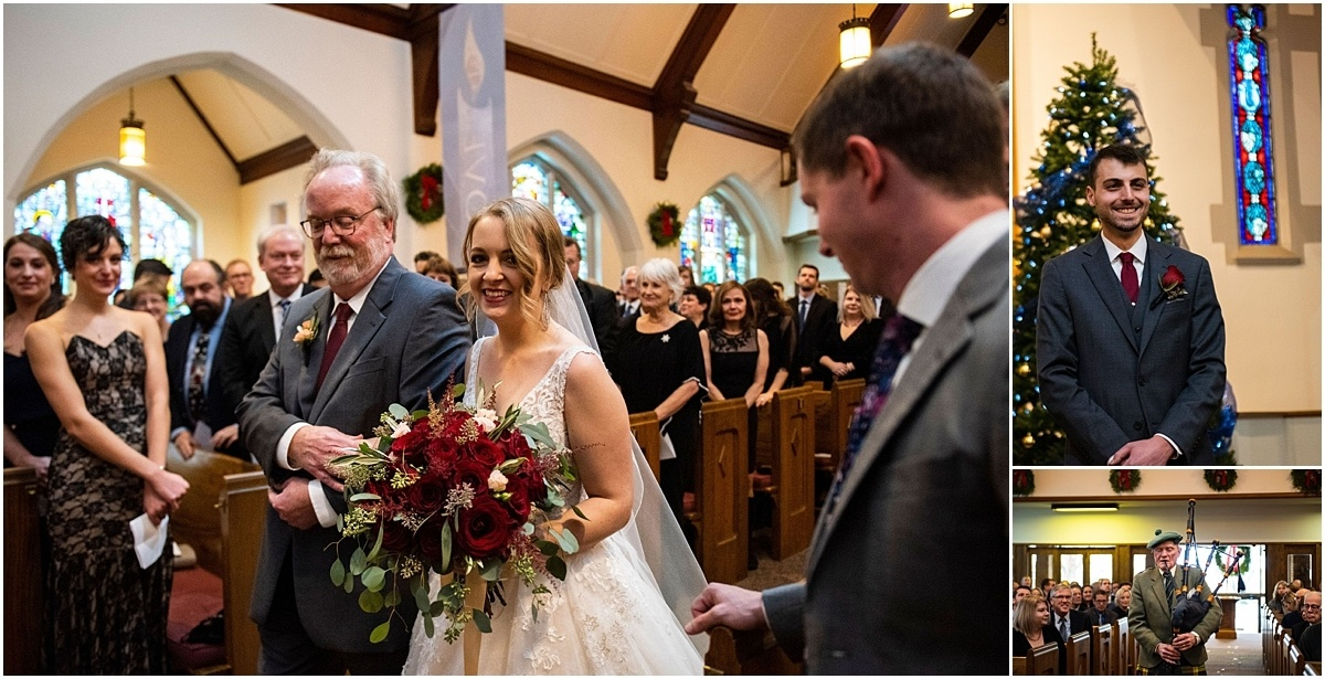 James J Hill Center Wedding father escorting bride down the aisle