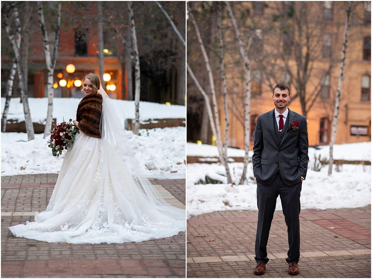 James J Hill Center Wedding bride and groom portraits