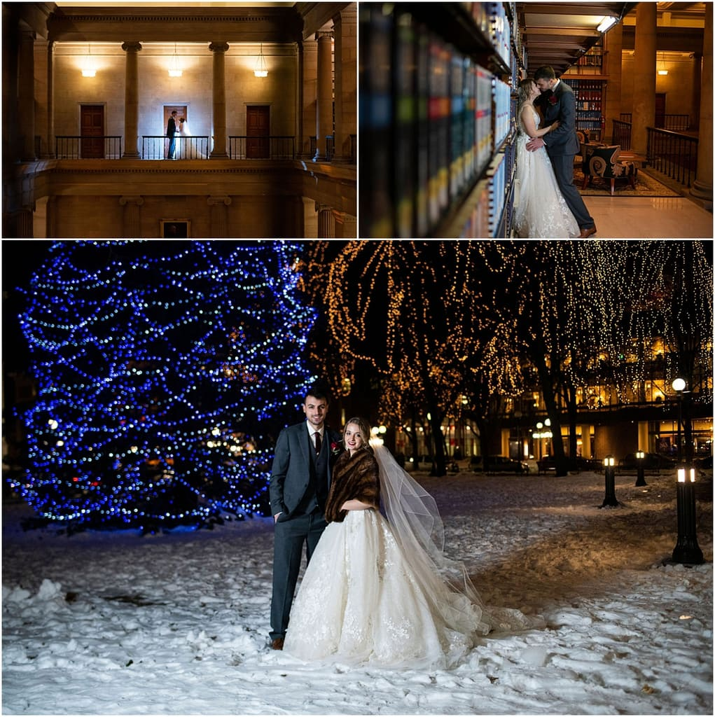 bride and groom posing and outside lights