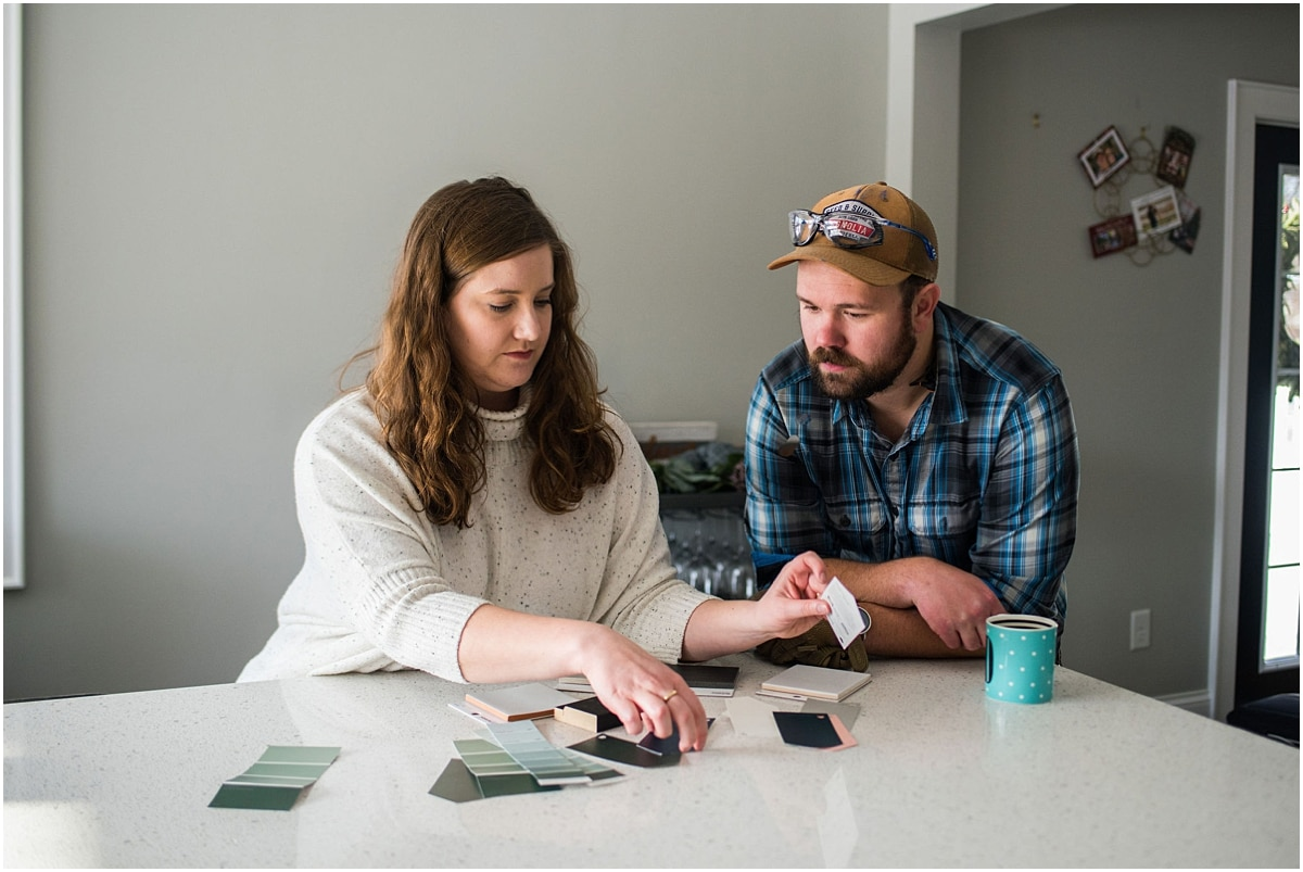 Minnesota personal brand photography couple picking paint samples