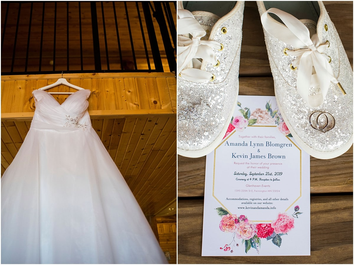 Glenhaven Events Wedding Photography shoes, dress, and invitation