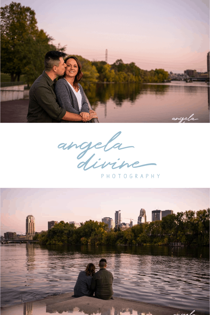 These photos are from a fall engagement session at Boom Island and the W 35 Bridge at Nicollet Island. Visit my blog to see more photos from this sunset photo session. | Angela Divine Photography | Minneapolis wedding + brand photographer | #engagement #engagementphotos #engagementsession #fallengagementphotos | https://angeladivinephotography.com/boom-island-photos-for-kayla-and-nicks-engagement-session