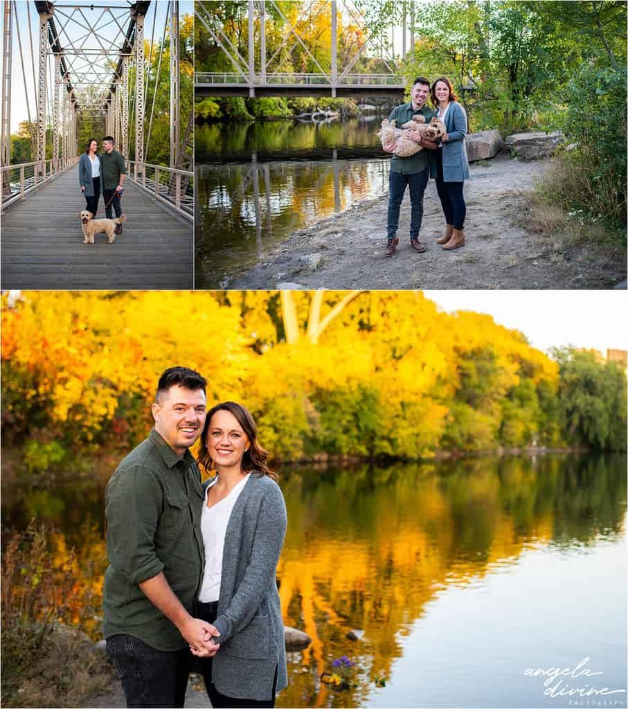 35 W Bridge, fall foliage, and river