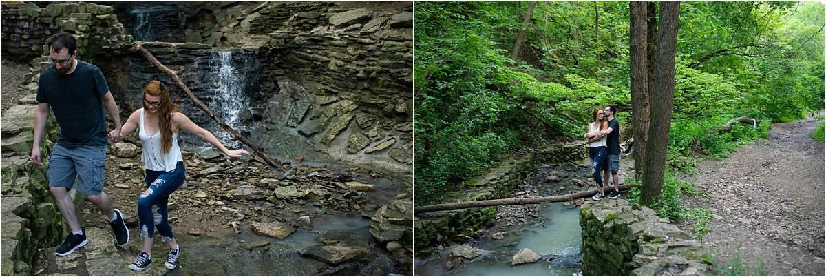 Hidden Falls Engagement Photography waterfall