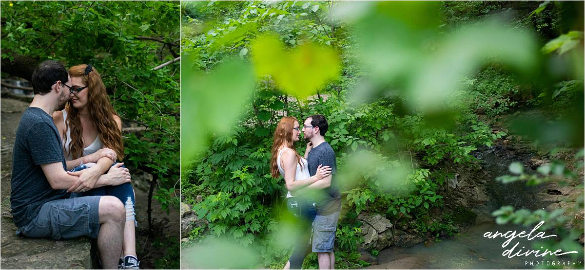 Hidden Falls Engagement Photography embracing in the woods
