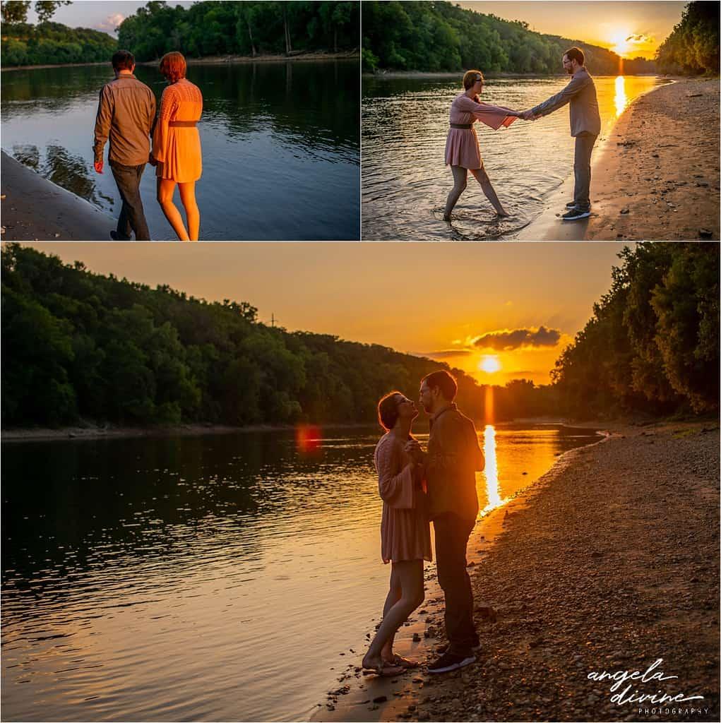 Hidden Falls Engagement Photography beach at sunset