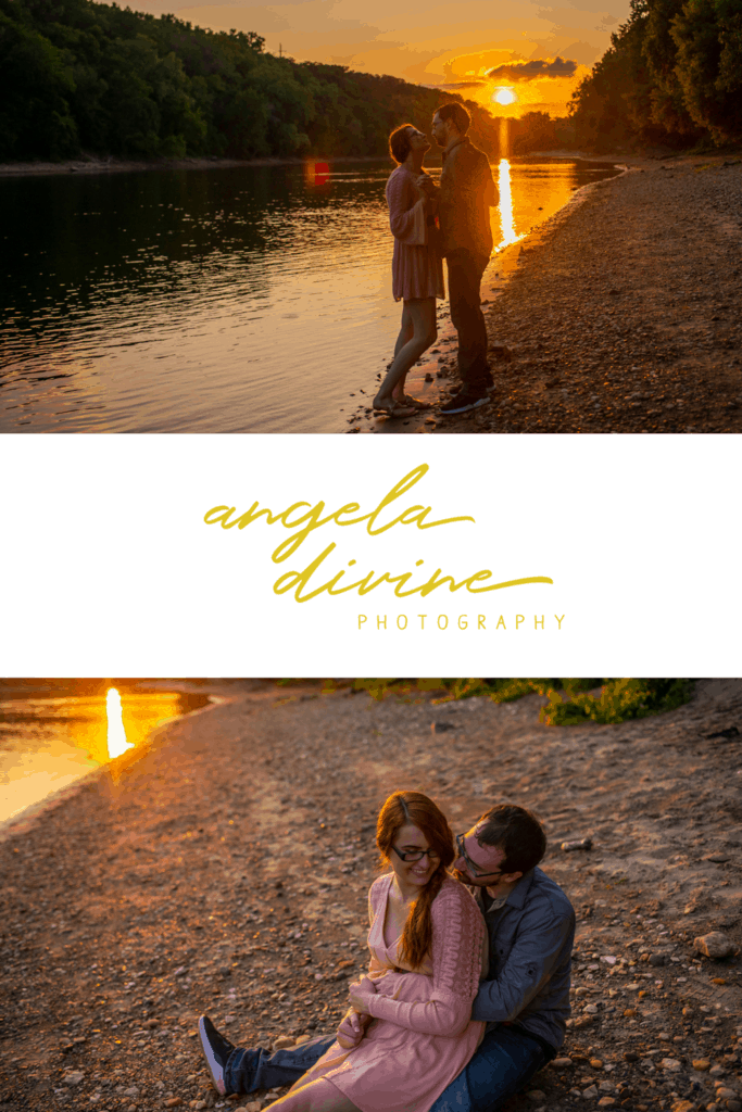 These photos are from an engagement session I photographed at Hidden Falls Regional Park. This couple loves the water and woods, so we took a sunset stroll for their engagement session. Check out more of their photos on the blog! | Angela Divine Photography | Minneapolis wedding + brand photographer | #engagement #engagementsession #engagementphotos #engagementphotography | https://angeladivinephotography.com/hidden-falls-engagement-photography-haley-nick
