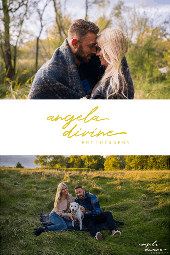 These photos are from an engagement session I photographed at Ritter Farm Park at sunset. This couple met thanks to sweet pup Luxi, so of course they wanted to include her in their engagement session photos! | Angela Divine Photography | Minneapolis wedding + brand photographer | #engagement #engagementsession #engagementphotos #engagementphotography | https://angeladivinephotography.com/ritter-farm-park-photography-session-kailey-nick
