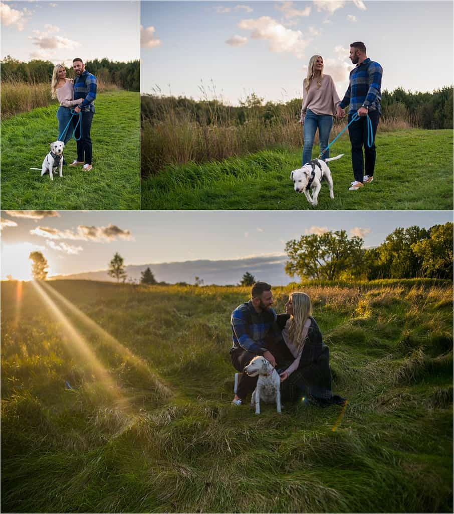 engagement pictures with dog at sunset