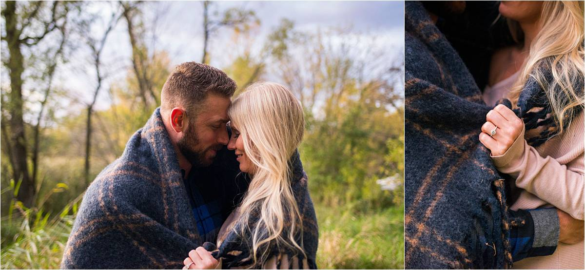 Ritter Farm Park Photography engagement ring and couple wrapped in blanket