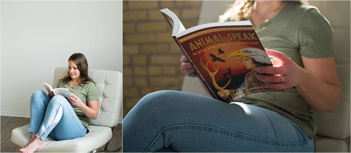 Minneapolis personal branding photography for Reiki Master reading spiritual book