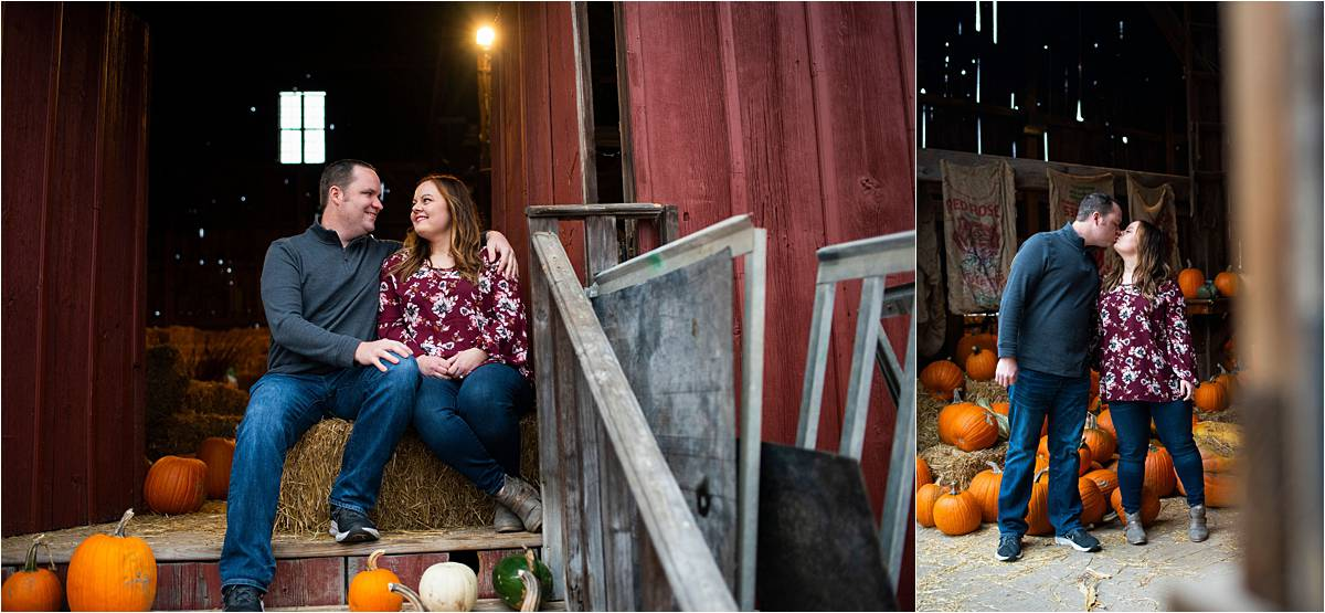 Stillwater Pumpkin Patch Engagement Session photos of couple in the barn
