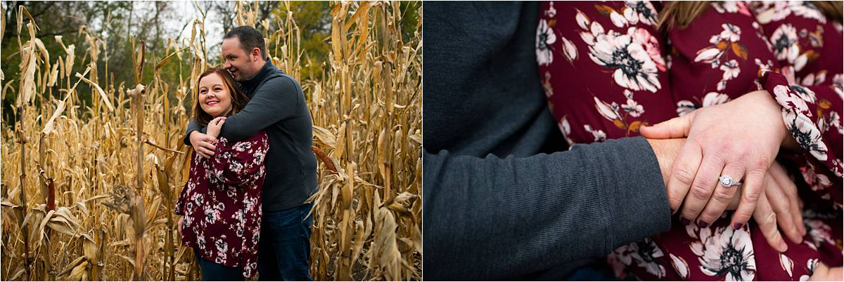 Stillwater Pumpkin Patch Engagement Session corn field and engagement ring
