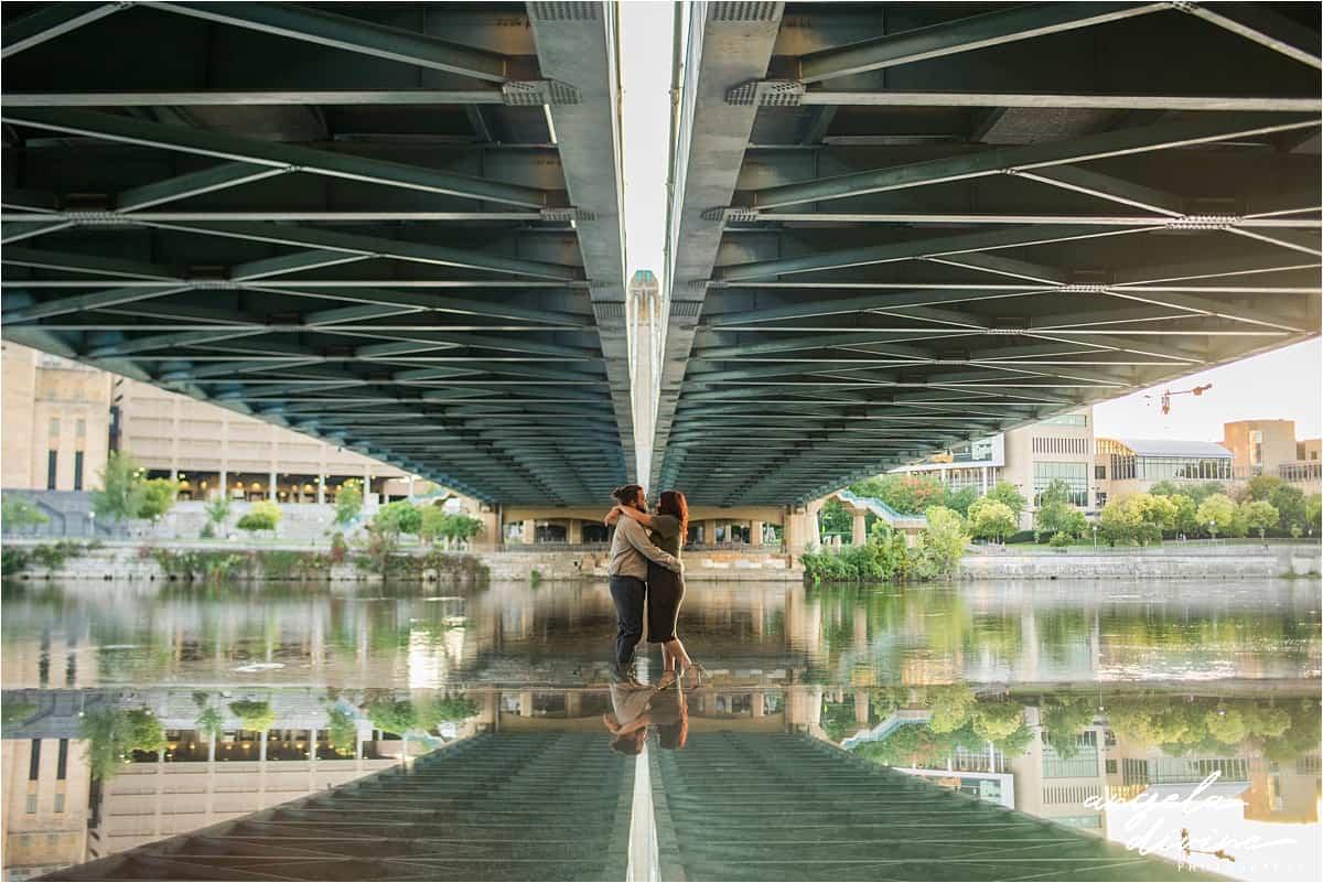 Nicollet Island bridge and cityscape